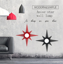 Wholesale staircase led lights - E27 LED Nordic creative anise star wall lamp ceiling light American living room restaurant cafe staircase background decorative wall lights