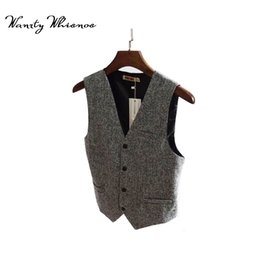 Wholesale Men Dress Vests Grey - M-7XL Fashion Single Breasted Slim Chaleco Sleeveless Jacket Cotton Waistcoat Suit Vest The back strap 2 Color Male Dress Vest