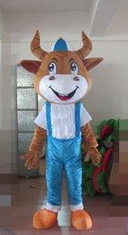 bande dessinée de vache brune Promotion Deluxe Vache Mascotte Costumes Animés Thème Animé brun Bétail Cospaly Cartoon mascotte Caractère Halloween Carnaval fête Costume