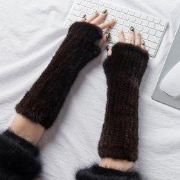 мех руки Скидка Glaforny 2018 Новый рука варежки мода меховые перчатки черный коричневый зима вязаные перчатки варежки 30 см / 40 см