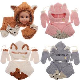 2019 dessins d'écharpe à tricoter Baby Knitted Hat Scarf Gants Ensemble Fox Design Hiver Chaud Enfants Garçons Filles Bonnets Casquettes 3pcs / set NNA858 promotion dessins d'écharpe à tricoter