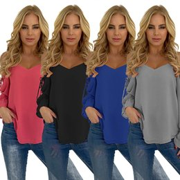 Wholesale Black Tie Neck Blouse - Women Fashion Tops Open Shoulder Long Tie Sleeve Solid Color Shirt Ladies Hot Blouse Roupa Feminina RF0825