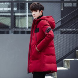 Wholesale Knee Length Winter Coats - Winter Thick White Duck Down Jacket Men Long Knee Length Youth Thick Coat New Solid Color Hooded Tide Outerwear Parkas fashion