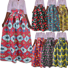 46560d9180 M-5XL Women Traditional African Ankara Skirt Dashiki Print High Waist  Pleated Beach Party Evening Boho Maxi Dress