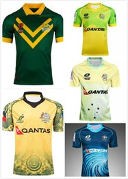 Wholesale australian quality - 2017 Australia national team camisetas AUSTRALIAN SEVENS rugby shirts Australia away rugby jerseys blue top quality S-3XL Free shipping