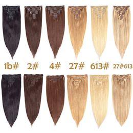2019 extensions multi-couleurs Clip In Extensions de Cheveux Droite Cheveux Humains Multi-couleur Cheveux Brésiliens 8 Pcs / Set 17 Clip Vente en gros extensions multi-couleurs pas cher