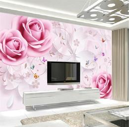 3d rosa flor pano de fundo Desconto Rosa flor papel de parede mural grande foto papel de parede para sala de estar quarto tv pano de fundo decoração da parede 3d murais de parede personalizado murais
