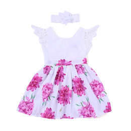 flew dresses Promo Codes - Girls Floral Dresses 2-7T Flower Dress Short Sleeve Flying Sleeves Round Neck Cotton Girls Summer Outfits