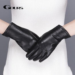 7e71a4a4fb72f Gours Women s Genuine Leather Gloves Black Classic Sheepskin Touch Screen  Gloves Winter Thick Warm Fashion Mittens New GSL076