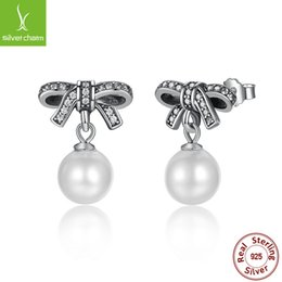 Wholesale Stud Bow Tie - S925 pure sterling silver Stud earrings Temperament bow-tie shell pearl sterling Silver Stud Earrings Women Girls Gift Jewelry