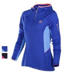 Wholesale Half Zip Hoodies - Wholesale-U Women's Professional Running Half Zip Close Hoodies Pullover Sweatshirt Training Top Jogging Jacket Breathable Arm Zip Pocket