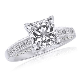 Wholesale diamond accent rings - Simulated Diamond Solitaire With Accent Ring Solid 14K White Gold 2.50 Cttw