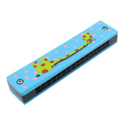2019 harmonium Holz-Giraffe Muster Dual-Serie 32 Loch Mundharmonika Kind blau