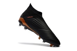 Wholesale Green Messi Soccer Shoes - 2018 Full Black 100% Original Football Boots Messi Soccer Cleats Laceless Predator 18+ FG Outdoor Soccer Shoes Mens Slip-on Soccer Boots