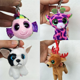 Wholesale toy kangaroos - Cute Plush Doll Keychains Big Eyes Kangaroo Dog Animals Keyring Toy Boutique Bag Pendant Handbag Key Buckle 4cs Y