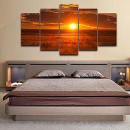 pintura de paisaje popular Rebajas Pintura de la pared para la sala de estar HD Print Framework Modern Modular 5 Panel Sunset Landscape Vintage Home Decoration Popular Artwork