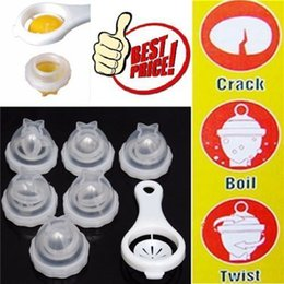 Wholesale red boils - 6 Hard Boiled Egg Cooker Mould Set Plus Egg Separator Silicone Baking Steamer Boiler Seperator Kitchen Tool AAA175
