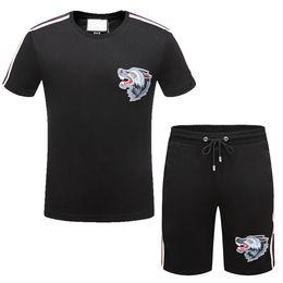 Wholesale Mens Black Pocket T Shirts - Summer Sport Suit Men Sportswear Skull Printed Mens Sweatshirt Clothing Set Casual T Shirt+Shorts Tracksuits 3D short