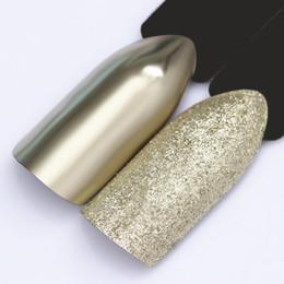 Champagner-nagelkunst online-1 Box Champagner Silber Gold Spiegel Nagel Pulver Schimmer Glitter Maniküre Pigment Nail Art Chrome Dekoration Staub