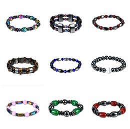 Wholesale glass bead bracelets for women - JLN Power Beads Hematite Bracelet Glass Stone New Health Lose Weight Energy Bracelets For Men And Women Gift