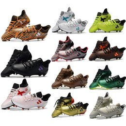 Wholesale Cheap Gold Ankle Boots - cheap 2018 x 17.1 FG new cleats boots football shoes botas de futbol mens soccer cleats x17 soccer boots 17 low ankle original chuteira