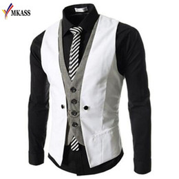 Wholesale Men Double Breasted Suit Slim - New Autumn Men Vest Suit Waistcoats British Style Casual Blazer False Two Vest Double Breasted Mens Slim Fit Dress Suit Vests