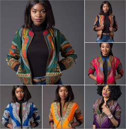 Vestes de dashiki en Ligne-Dashiki africains Robes Vente Robes New Arrival Afrique 2018 Sexy Bazin Veste Riche National Dashiki Fashion Coat Imprimer