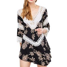 Lenzuola a crochet online-MOSHU Chic Mini Abito in lino da donna con inserti in crochet Inserti in spacco Boho Abiti estivi casual Manica a 3/4 Knitting Hollow Beach
