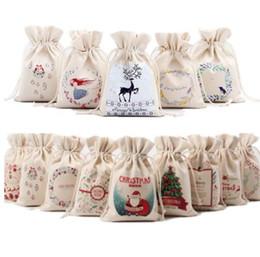 Canvas drawstring bags packaging online-Sacchetto di regalo di Natale Sacchetto di cordoncino con coulisse di tela pura con design di Babbo Natale di Natale per i regali Pacchetto di caramelle Sacchetto di cordoncino di Babbo Natale KKA5636