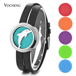 Wholesale Leather Dolphin - Aromatherapy Diffuser Locket Bracelet Dolphin 316L Stainless Steel Double Leather without Felt Pads VA-827