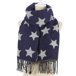 7a7bb792f China 2018 Fashion Navy Star Print Women Winter Long Scarf Shawl Ladies  Cashmere Knitted Tippet Tassel