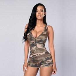 2018 Mulheres Sexy Com Decote Em V Sem Mangas Macacão Bodysuit ocasional das Mulheres Romper Camoflage Cor Verão Shorts Praia Macacão de Fornecedores de macacão de bootcut