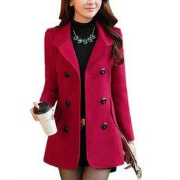 Wholesale Korean Office Wear - OL style women fashion autumn winter jacket coat femme slim double breasted overcoat Korean elegant office wear oversized new