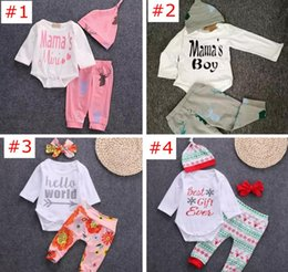 Wholesale Leopard Animal Hat - more 40styles NEW Baby Baby Girls Christmas hollowen Outfit Kids Boy Girls 3 Pieces set T shirt + Pant + Hat Baby kids Clothing sets