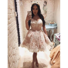 Wholesale petite photo - 2018 Short Ball Gowns Homecoming Dresses Off The Shoulder Lace Appliques Pearls Mini Cocktail Party Dresses Gown