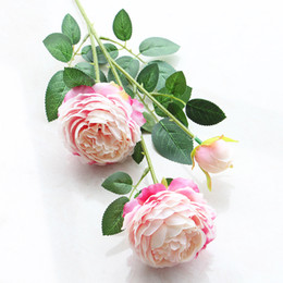 Wholesale Bouquets Peonies - Fashion 3 Heads 65*8cm Artificial Flowers Peony Bouquet 11Colors Silk Bridal Bouquet Fall Vivid Fake Rose for Wedding