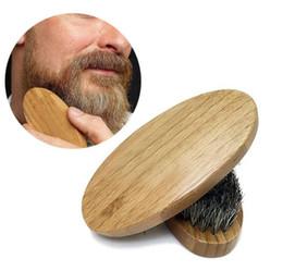 Wholesale Mustache Brush - New Arrival Mens Boar Hair Bristle Hard Round Wood Handle Beard Mustache Brush Set maquiagem Free Shipping