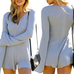 Wholesale Womens Gray Jumpsuits - Hot Long Sleeve Fitness Jumpsuit Short Zipper V-neck Womens Sexy Solid Color Bodysuit Casual Playsuit Rompers RF0840
