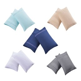 Canada 1 paire de taie d'oreiller doux blanc / bleu / bleu profond / abricot / gris taie d'oreiller couple taie d'oreiller cadeau pour lui ou sa reine taille Offre