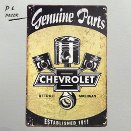 "Wholesale Gifts Sign - ""Genuine Parts"" Chevrolet Metal Tin Sign, Hot Rod, Rat Rod, Street Rod, Man Cave"