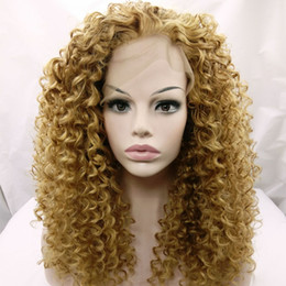 Wholesale Kinky Curly Hair Blonde - long kinky curly hair lace front wig for black woman 12-26inch blonde 27# 613# kinky curly synthetic wigs Heat Resistant