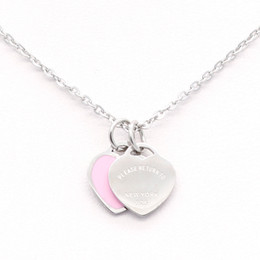 Wholesale Pair Heart - 2018 Fashion Trendy Paired Suspension Pendent Model Stainless Steel Chain Heart Love Necklace Enamel Pink Women Necklace Birthday Gift