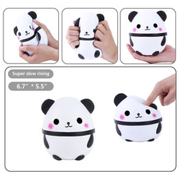 Wholesale Squishy Eggs - 2018 Panda egg Squishy Jumbo Cute Panda Kawaii Cream Scented Kids Toys Doll Gift Fun Collection Stress Relief Toy Hop Props