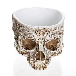 ollas de cráneo Rebajas Cráneo tallado a mano moderno Maceta Cráneo humano Bone Bowl Home Garden Decor Decoración de Halloween