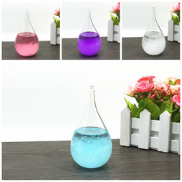 Wholesale Drop Ornament - Mini Storm Glass Bottles Crystal Tempo Water Drop Globes 6*12cm Weather Forecast Bottle Desktop Ornament For Birthday Gift 7 5cs B
