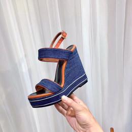Wholesale Denim Wedges - 2018 summer luxury 12cm women denim wedge sandals shoes size 35- 40
