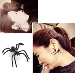 trajes encantados para o dia das bruxas Desconto Punk Halloween Black Spider Charme Ear Stud Brincos Presente Da Noite Para A Festa de Halloween Traje Novidade Brinquedos