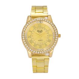 Orologio digitale romano online-Orologio da donna al quarzo con cassa in cristallo, cinturino in acciaio inossidabile, orologio da donna