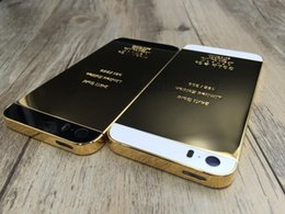 Wholesale iphone 5s apple logo - For Iphone 5 5s 24K 24kt Limited Edition Mirror Gold Back Housing Middle Frame Replacement LOGO&Engraved Word for Iphone 5
