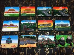 Wholesale Wall Stickers Panda - 12pcs set China Beijing Great Wall Tian'anmen Rostrum Tiantan Panda Fridge Magnet World Travel Tourism Souvenir Crafts